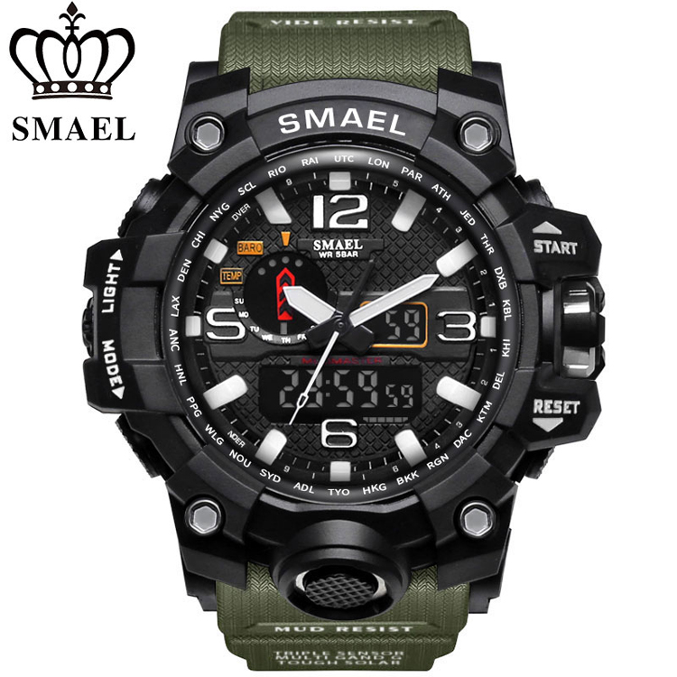 SMAEL 1545 A \ % SALE Men 물 Resistance 50 m Digital 군 Multifunction Rubber Band 실리콘 Sports Watches