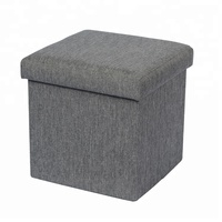 Linen fabric square folding storage ottoman stool
