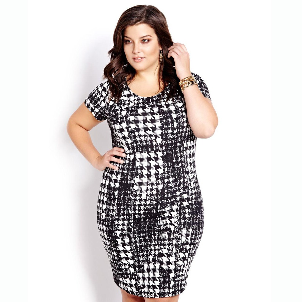 Houndstooth Printed Sexy Fat Women Fashion Dress Plus Size Women ...