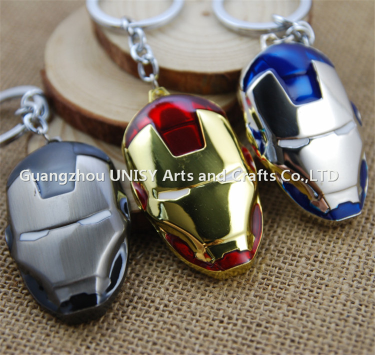 Hot sale 2016 New Design Movie Series The Avengers Key Chain Iron Man Mask Keyring Keychain key holder