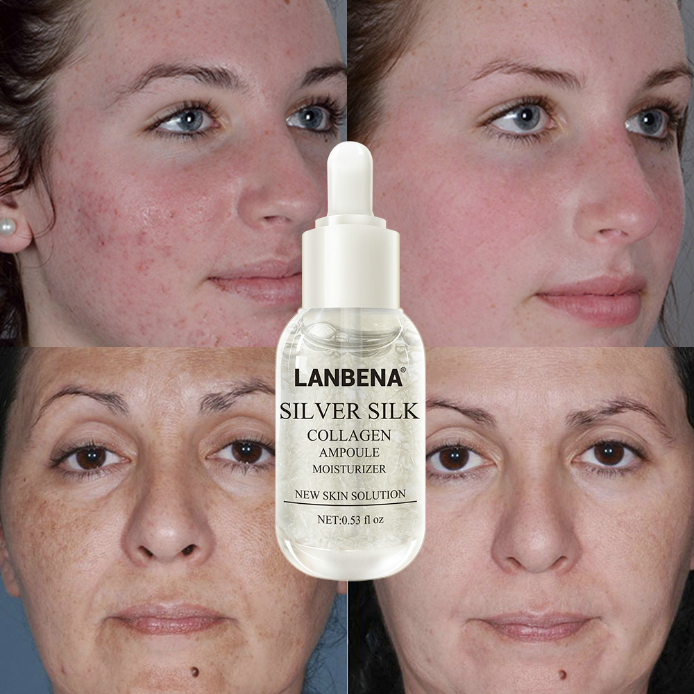 LANBENA Silver Silk Collagen Ampoule Serum Tightening Pores Repairing Revitalizing Moisturizing Nourishing Anti Aging Skin Care