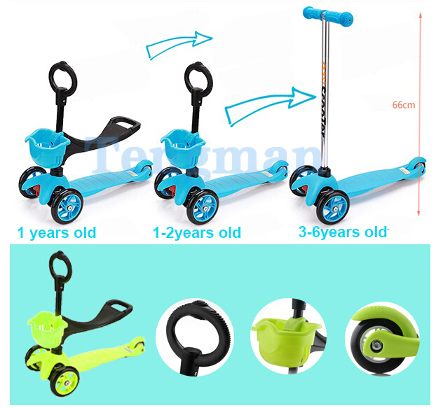 3 In 1 Scooter 3 Wheel Kick Push Toddler Baby Walker Balance Tri