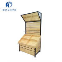 Supermarket Store Display Metal Wooden Dry Food Carts Grains Display Rack Stand Rack Gondola Units