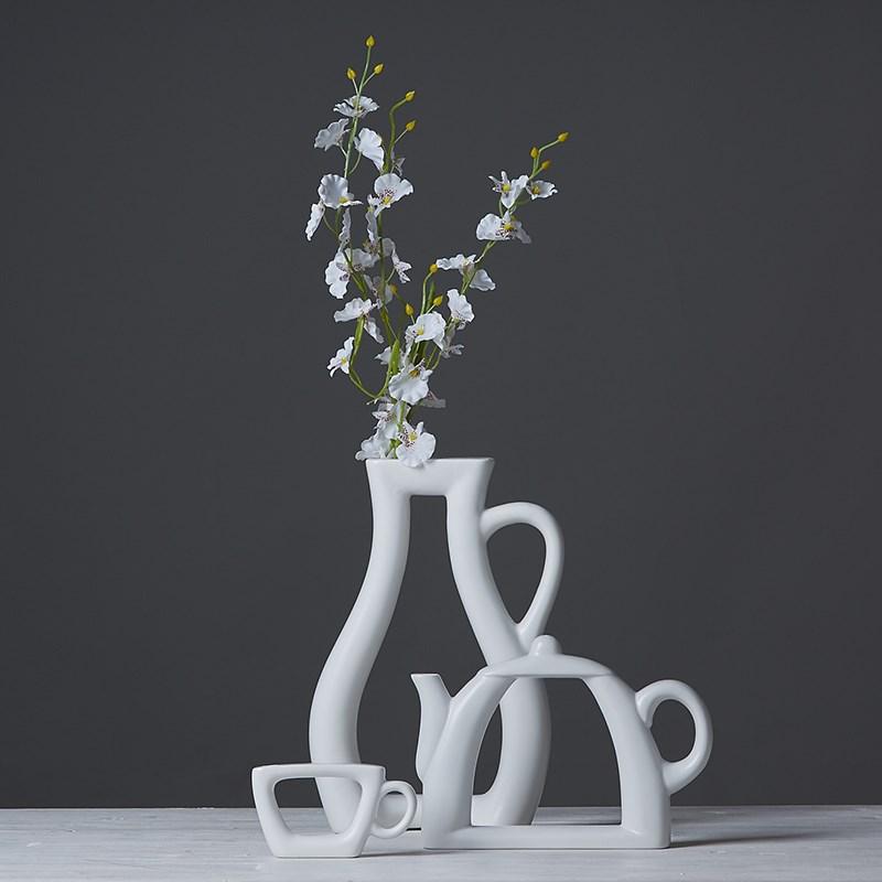A set white pot shape cheap modern ceramic vase for home decor