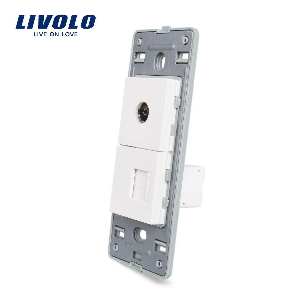 Livolo US TV and Computer RJ 45 Socket Without White Pearl Crystal Glass <strong>Internet</strong> electrical wall socket VL-C5-1VC-<strong>11</strong>