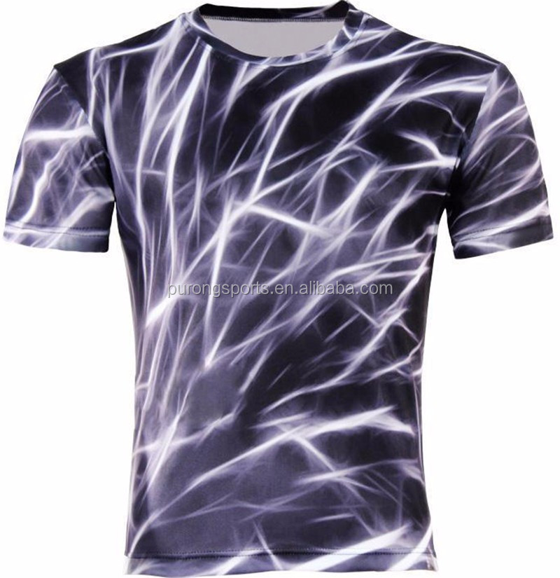 Men 3D Picture Creative T Shirt Purple Lightning 3d Printed Short Sleeve T Shirt Running T-Shirts