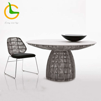 Wholesale used Italian style high quality modern bistro plastic rattan dining table and chair