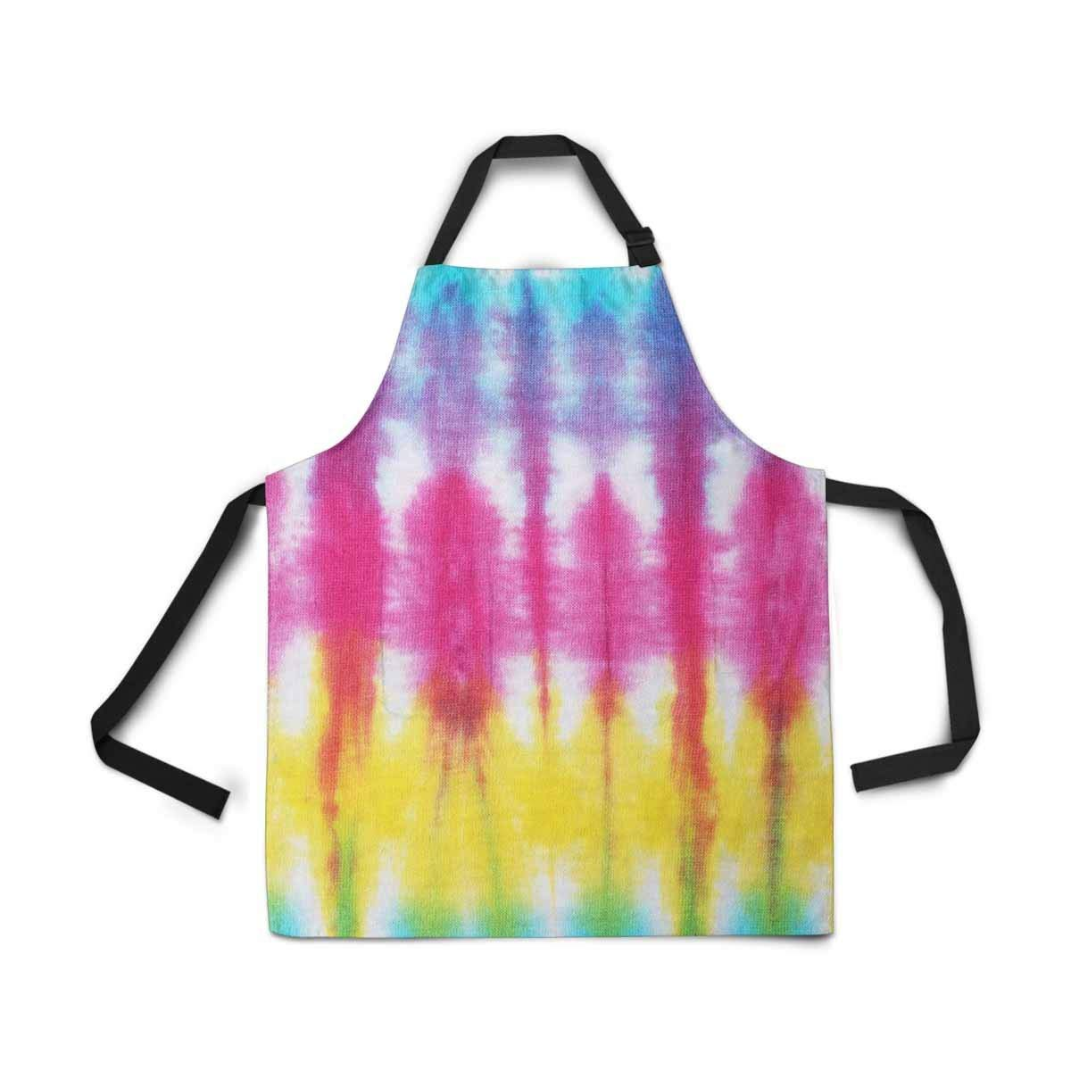 InterestPrint Colorful Tie Dye Apron Kitchen Cook for Women Men Girls Chef with Pockets, Tie Dyed Funny Adjustable Bib Baking Paint Cooking Apron Dress