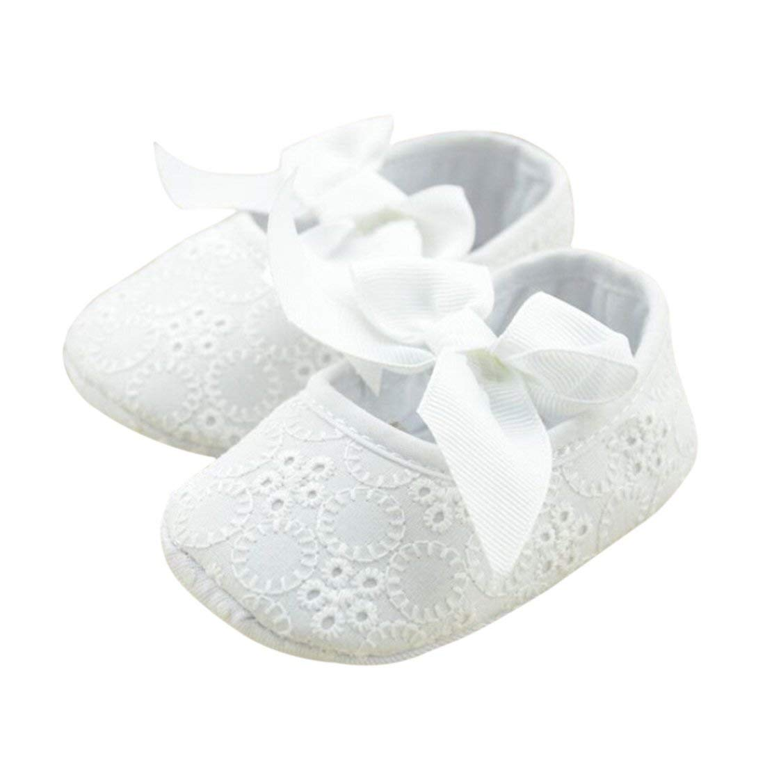c27f4708fb4d Get Quotations · Bluelans® Infant Girls Cotton Ribbon Bowknot Soft Bottom  Flower Prewalker Baby Shoes - 0-