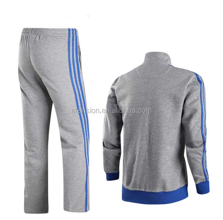 Stand Collar Zipper Up Mens Winter 100% Cotton Tracksuit