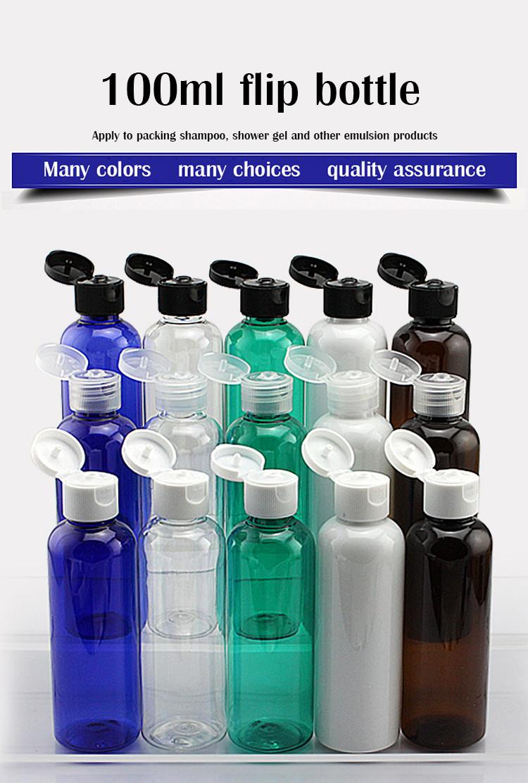 8932bf1d1ff4 Wholesale- (10pcs/lot)100ml shampoo plastic travel bottles with flip top  cap,refillable travel shampoo packaging PET bottles