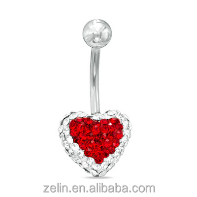Epoxy crystal heart belly button rings body piercing jewelry Yiwu Factory
