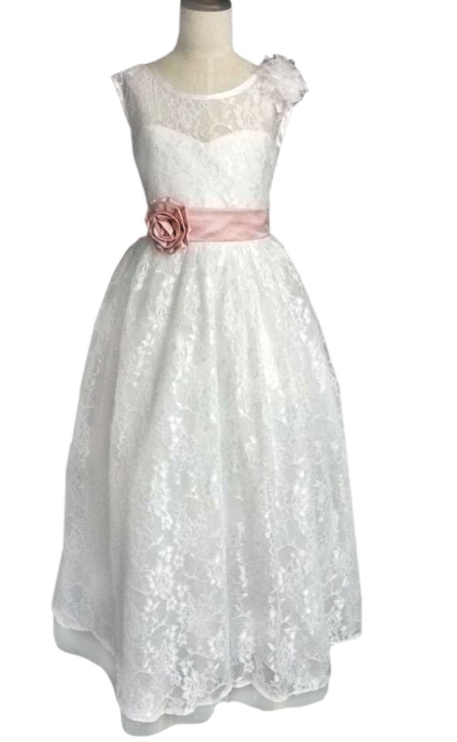 Get Quotations · Elegant Kids Party Frocks Pink Waistband Ribbon Satin  Material Cut-out Back Tulle Gown Little 0c8c5a050