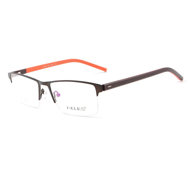 6771b1c6c4 Get Quotations · Classic Rectangular Optical Eyewear Glasses Frame Men s  semi-rimless Eyeglass Frames Metal TR