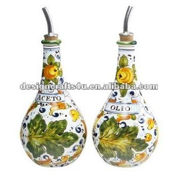 Italian Fl Ceramic Oil And Vinegar Bottle Cruet Set