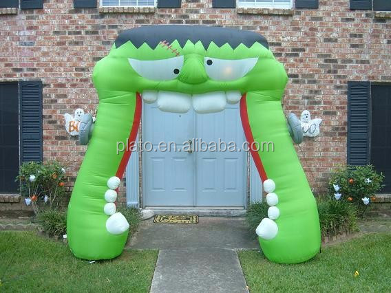 High quality green inflatable frankenstein mouth arch /inflatable archway entrance for Halloween party decoration