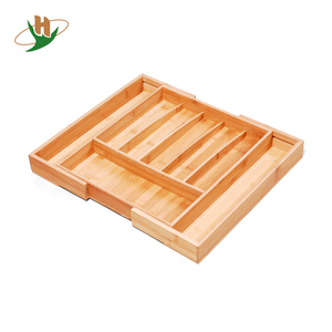 Adjustable expandable 8 compartments Bamboo Kitchen Drawer Organizer, Cutlery rack tray