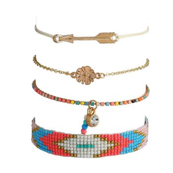 2017 New Products Fashion High Quality Ethnic Style Flower Arrow Charm Japan Seed Bead Pattern Bohemia Bracelet Set