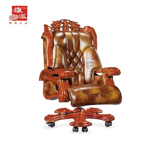 Comfortable genuine leather executive wooden swivel desk chair AX6400