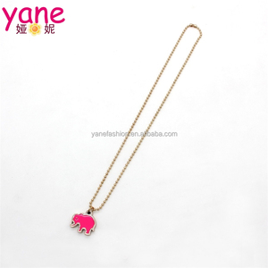 Cute pink elephant necklace,lovely girls jewelry accessory wholesale
