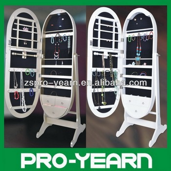 Oval Floor Standing Mirrored Jewelry Cabinet Chinese Wooden Furniture  Makeup Armoire Storage With LED Light And