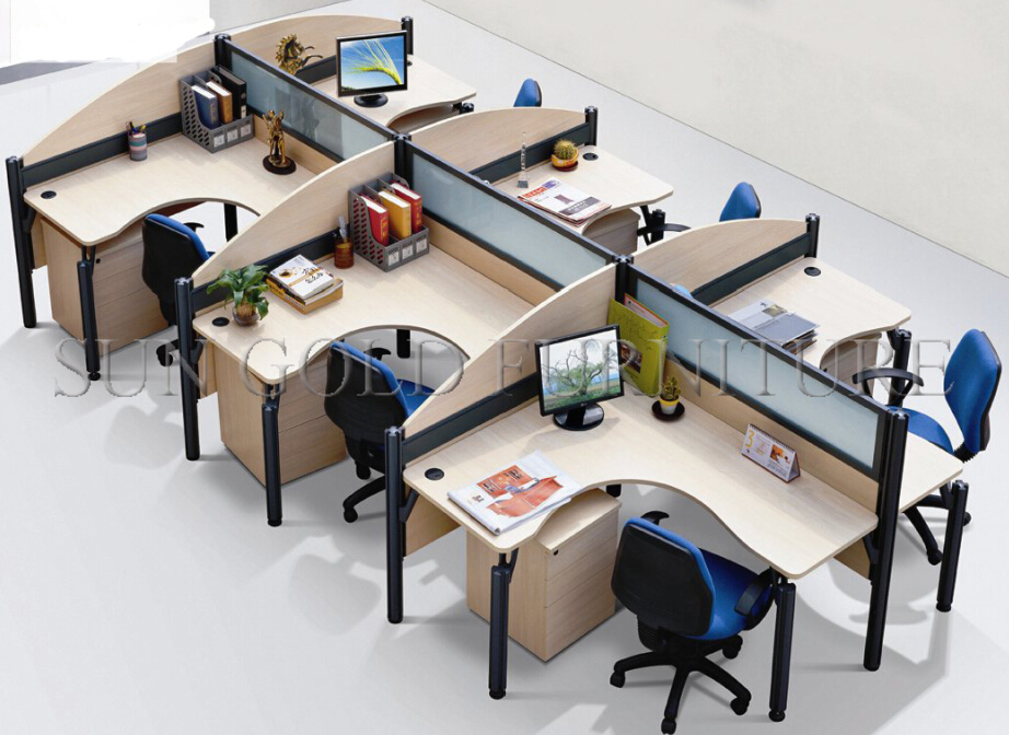 Office workstation layout staff office work desk computer for Best office plans