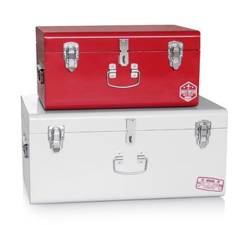 Set 2 Elegant Metal Storage Trunk Children Kids Toy Steel Chest Box With  Silver Accessories