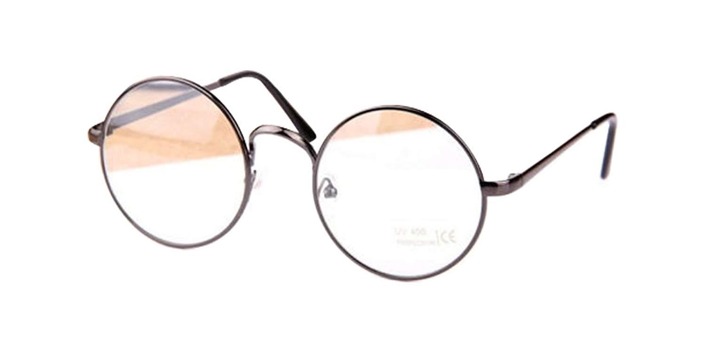 Gun Gray Retro Big Round Metal Frame Clear Lens Glasses Designer Nerd Spectacles Eyeglass