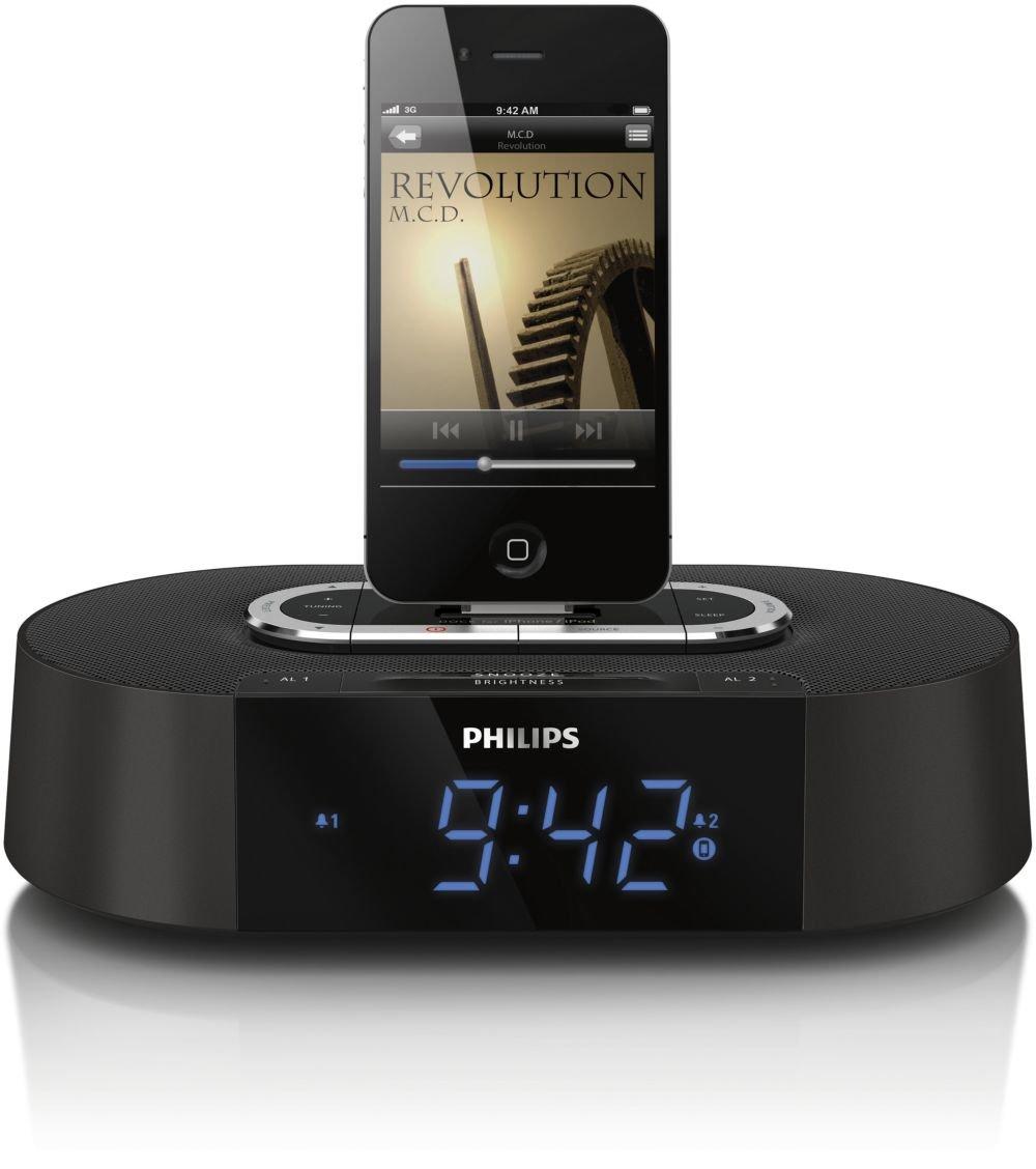 Black Memorex MI4703P 30-pin Dual Alarm Clock Radio for iPod and iPhone