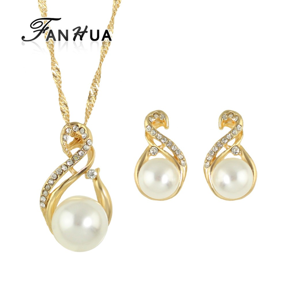 Gold Silver Plated Imitation Pearl Wedding Jewelry <strong>Set</strong> for Women