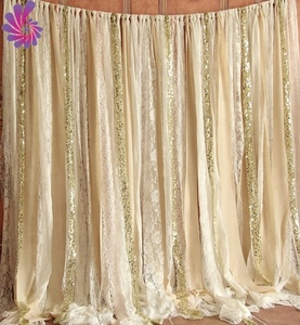 Elegant Sequin Lace Chiffon Colorful Cloth Strips Wedding Stage Backdrop Decoration