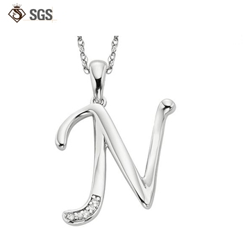 Design Chain Alphabet N Letter Pendant Simple Silver Necklace