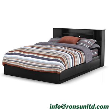 Wood Double Bed With Box King Size Antique Storage Platform Bed