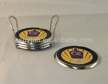 Set of 4 Crown Royal Chrome Metal and Leather Coasters with Metal Caddy