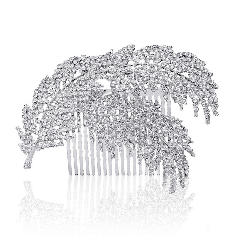 GUGUTREE 12x7cm Tiaras beaded leaf headwear of bride crown diamond headwear for bride acting initiation graduation RS-12