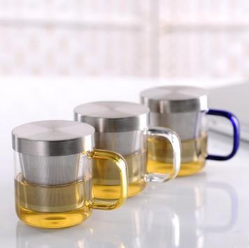 Samadoyo 350 ml tazas de té de vidrio transparente con tapa de ...