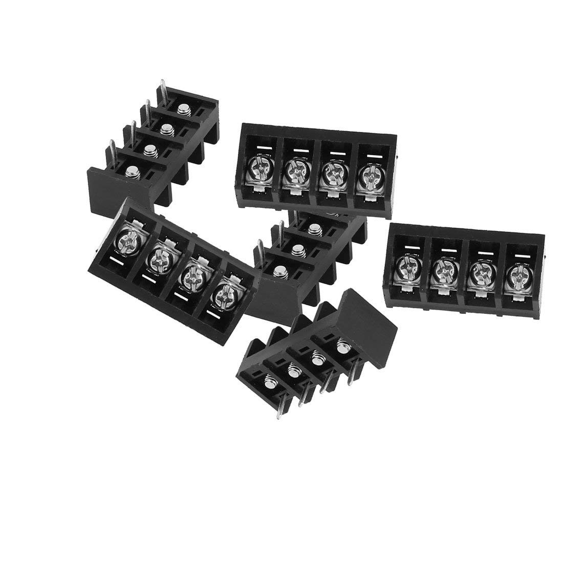 Aexit 6Pcs 4P Wire Connector Screw Barrier Terminal Strip Blocks AC 300V 30A