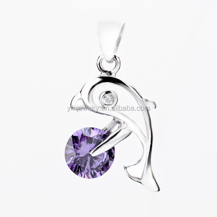 Jumping Dolphins 925 Silver Purple Diamond Pendant Necklace Jewelry Love Souvenir