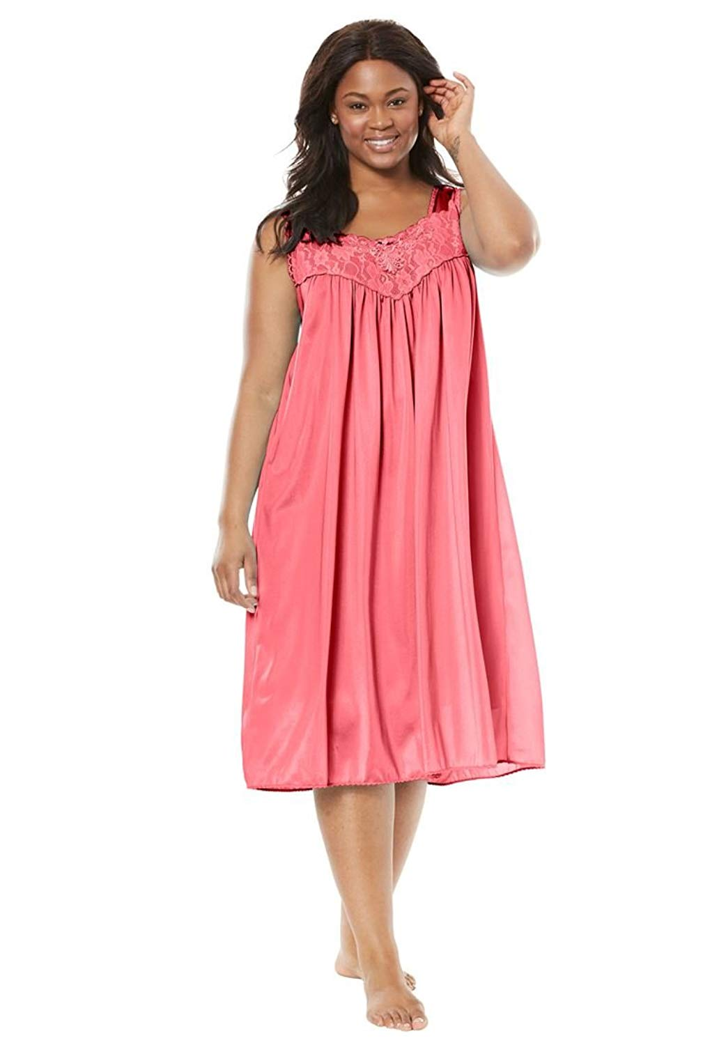 4937608fb98e Get Quotations · Only Necessities Women s Plus Size Tricot Waltz-Length  Nightgown
