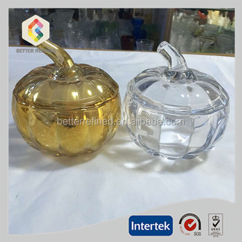 crystal hand press pumpkin shape glass jar for nuts cookie and candy