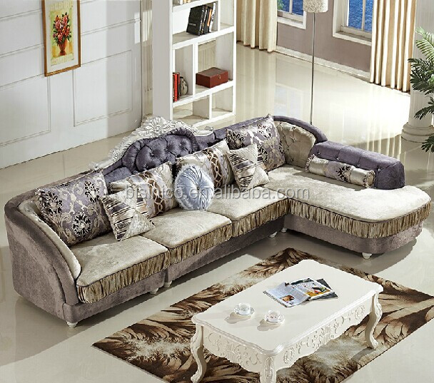 Cloth Living Room Sofa Set Wood Frame Corner Post Modern Sectional