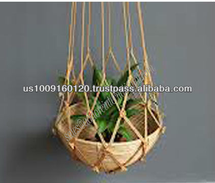 All natural heavy duty colorful et d coratif jute macram for Suspension plante exterieur