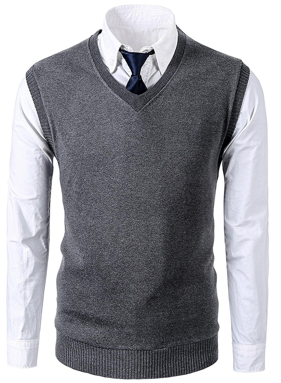 09ea5470be678 Get Quotations · Sodika Men s Vest Knit V-Neck Sweater Solid Color Casual  Slim Fit Pullover Sweater Vest
