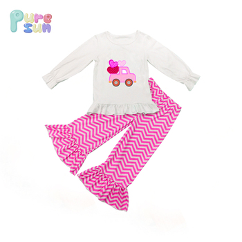 Valentines Baby Girls Boutique Outfits Kids Wholesale Price Car and Heart Applique Pink Children Clothes Sets