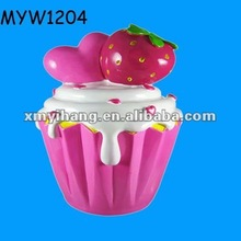 heart pink Cupcake piggy pot Design coin money change can container or box ceramic pottery money bank