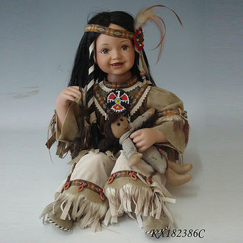 18inch Porcelain Toddler Indian Costume Native American
