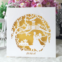 Laser cut wedding invitation engagement invitations card event party supplies circle design lace circle 2016 greeting cards box