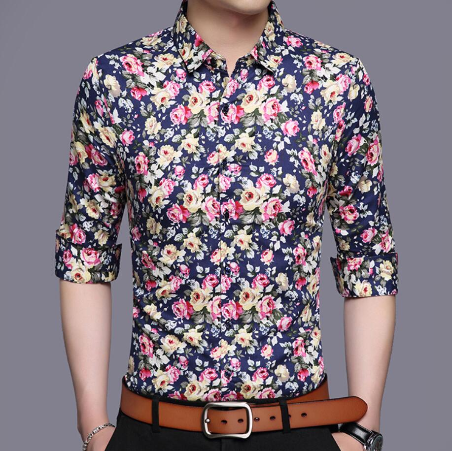 autumn new style long sleeve all over print casual shirts for men