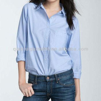 Ladies cotton blue oxford work shirt unisex plain shirt for Blue cotton work shirts