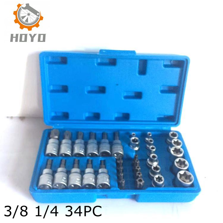 34pcs Screwdriver Allen Head Drive Sleeve Wrench Spline Bit Socket Set For Tamper-proof Lug Nuts Sockets Set To Assure Years Of Trouble-Free Service Hand Tool Sets Tools